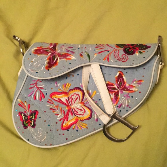Dior Handbags - Christian Dior blue butterfly saddlebag f4848b512be7a